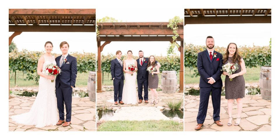 The couple with their siblings at Tycoga Winery for a summertime wedding.