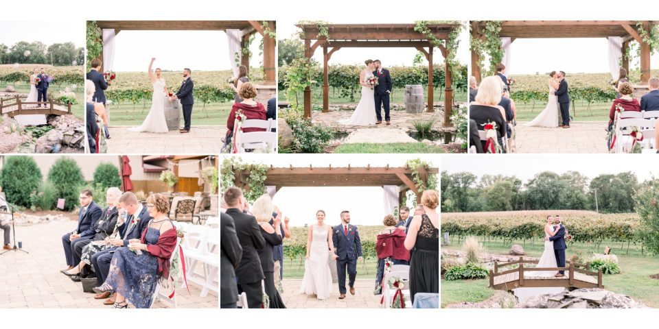 The bride and groom exchange their vows and rings during their outdoor ceremony at Tycoga in Iowa.