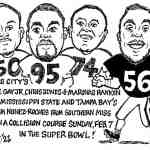 3 FROM MISS STATE – 1 FROM SOUTHERN – IN SUPERBOWL CARTOON – By Ricky Nobile