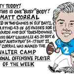 Matt Corral QB Stats Cartoon – By Ricky Nobile