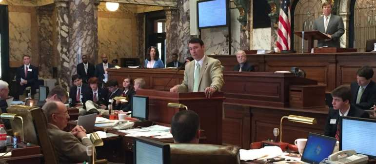 Sen. Sean Tindell, R-Gulfport and Judiciary A committee chairman, discusses the guns in churches bill in the Senate chamber Tuesday.