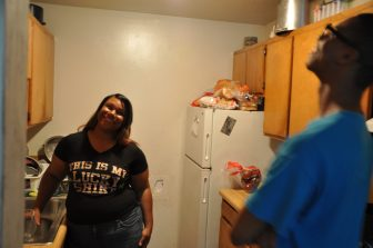Gaylyn and her son, Gabriel Parker, in their kitchen.