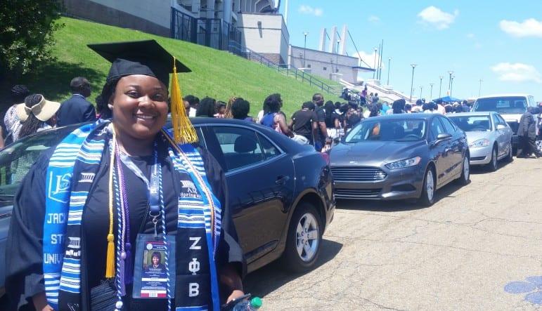 Jackson State University student De'Una Wilson outside Mississippi Veterans Memorial Stadium where commencement ceremonies were being held.