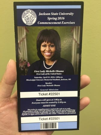 JSU Commencement ticket features First Lady's image