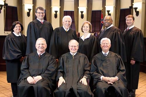 Mississippi Supreme Court, 2016: Front, from left, Justices Jess Dickinson, Chief William Waller Jr., Michael Randolph; back, Justices Dawn Beam, Josiah Coleman, Jim Kitchens, Ann Lamar, Leslie King, Jimmy Maxwell