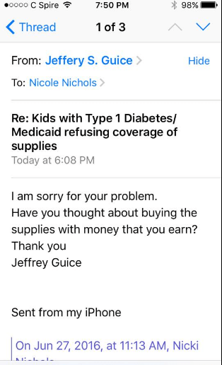 Rep. Jeffrey Guice, R-Ocean Springs, asked the mother of an 8 year old with diabetes if she had considered paying out of pocket for her daughter's medicine.