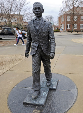 The James Meredith statue on the University of Mississippi campus in Oxford