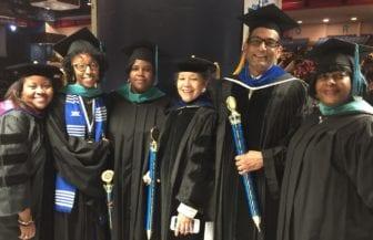 L-R: Dr. Talya Thomas, assistant professor, Jaynae Young, M.A. alumna, Tiffany Bush, M.A. alumna, Dr. Joan Wesley, DURP associate professor, Dr. Mukesh Kumar, associate professor and Loretta Johnson, M.A. alumna at JSU spring 2016 graduation