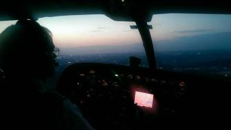 Southern Airway Express Capt. Bob Ecton prepares for landing at the Jackson airport.