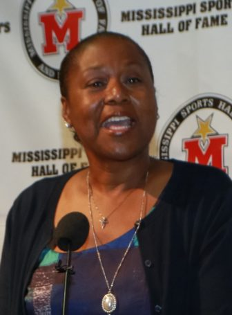 Peggie Gillom speaks about Eugenia Conner at the Mississippi Sports Hall of Fame on Thursday.