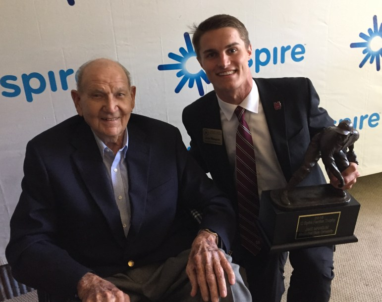 Boo Ferriss and Mississippi State's Jake Mangum, in May, after Mangum won the 2016 C Spire Ferriss Trophy as Mississippi's top college baseball player.
