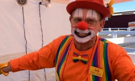 Tone Tone the clown smiles big for the camera at the Mississippi State Fair