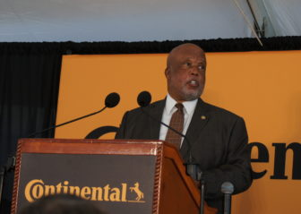Congressman Bennie Thompson encouraged Continental and state officials to do more local and minority hiring for the tire plant.