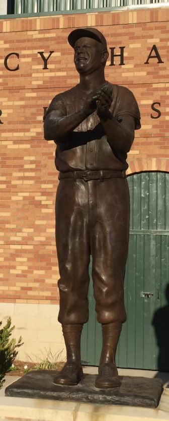 A statue of Coach Boo Ferriss stands outside the Delta State baseball stadium.