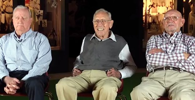 From left, Jim Stuart, Harper Davis and Johnny Grace remember the historic 1946 Mississippi State-Michigan State football game.