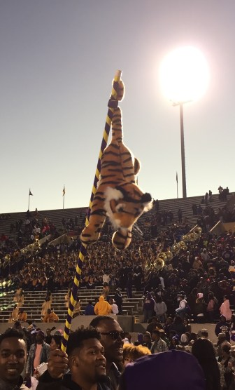 """Alcorn received the SWAC Eastern Division championship trophy after the game, but Alcorn fans were displaying their own """"Tiger"""" trophy."""