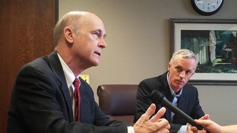 Sens. Hob Bryan, left, and David Blount speak about their highway proposal.