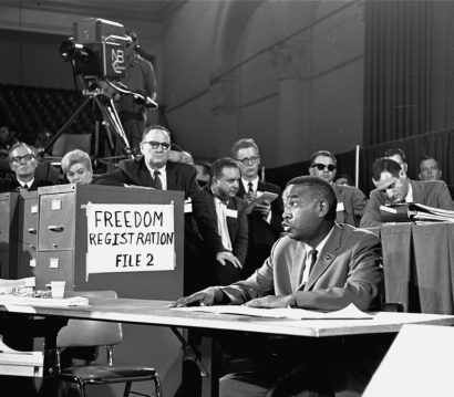 Aaron Henry, leader of the Freedom Democratic Party, argues for seats at the Democratic National Convention for his delegation from Mississippi at a meeting of the credentials committee in Atlantic City, NJ, August 22, 1964.