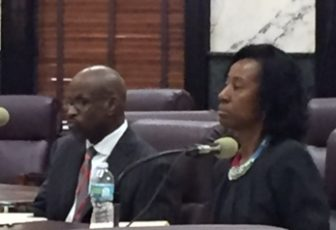 Attorney Kenneth Jermain Grigsby and former Greenville teacher Linda Winters Johnson at the licensure hearing on Wednesday morning.