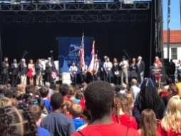 The crowd looks on as 2016 Miss Mississippi Laura Lee Lewis speaks during the U.S. Postal Service Mississippi Statehood stamp ceremony in Centennial Plaza in Gulfport.