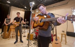 "Actors, from left, Ian Fairlee, Austin Hohnke and Austin Wayne Price rehearse for ""Million Dollar Quartet"" at New Stage Theatre."