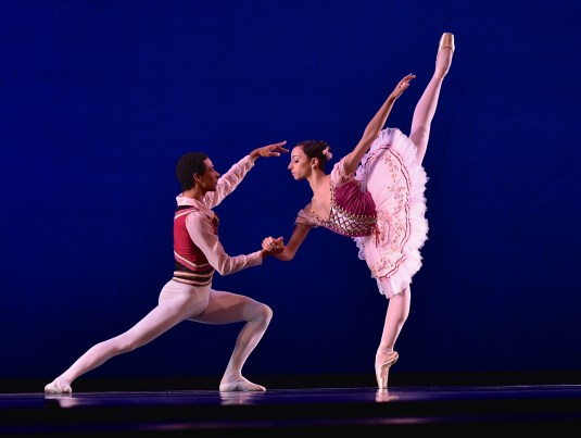 Paula Alves of Brazil and her noncompeting partner, Fellipe Camarotto, perform Coppelia, Wedding Pas de Deux, Swanilda & Franz, Act III at the 2014 USA IBC. Alves received a trainee contract with Texas Ballet Theater.