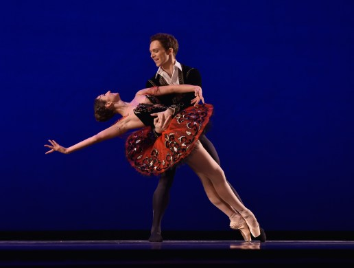 Irina Sapozhnikova of Russia and Joseph Phillips, noncompeting partner, dancing Don Quixote, Grand Pas de Deux. Sapozhnikova won the senior women's silver medal in 2014, and Phillips returned to the stage where he won the junior men's gold medal at the 2002 USA IBC.