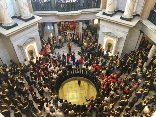 "Students, parents and advocates fill the Capitol rotunda on ""school choice"" day. Public school advocates, who had a rally planned a few weeks later, say they were denied the opportunity to hold their rally inside the Capitol."