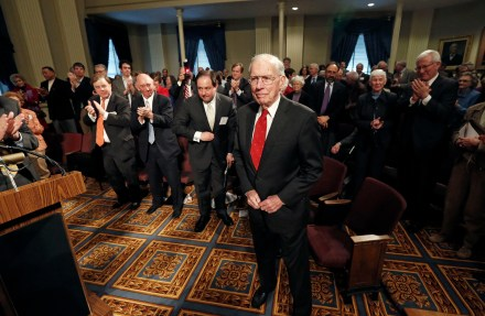 Former Gov. William Winter is given a standing ovation at the conclusion of a symposium on the Future of Mississippi and the South on his 90th birthday, Feb. 19, 2013 at the Old Capitol Museum in Jackson.