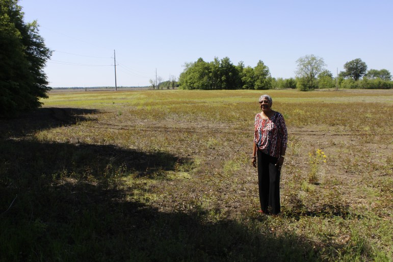 Eulah Peterson, Mound Bayou mayor, stands on family property.