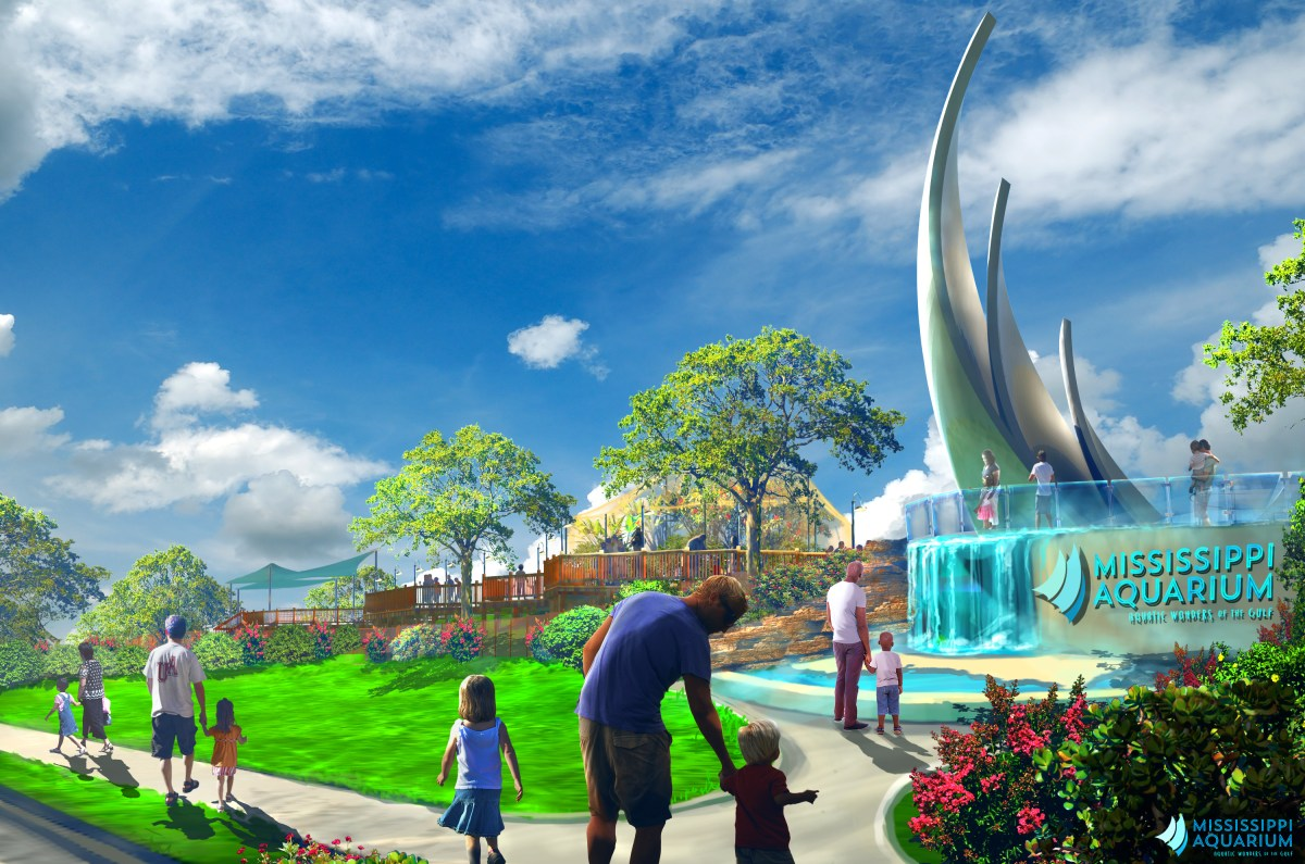 Rendering of an outside view of the Mississippi Aquarium