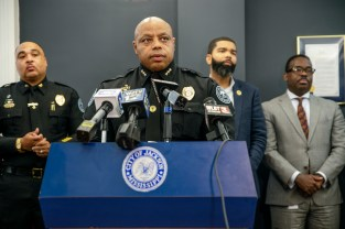 Jackson Police Department Assistant Chief James Davis, center, speaks to media after Mayor Chokwe Antar Lumumba announced that Davis will replace Anthony Moore as the police department's interim chief during a press conference at City Hall Thursday, June 28, 2018.