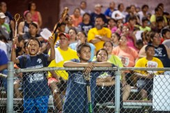 Fans watch as teams compete during the Choctaw Indian Fair at Choctaw Central High School Wednesday, July 11, 2018