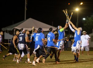 Teams compete during the World Series of Stickball at the Choctaw Indian Fair in Choctaw Wednesday, July 11, 2018.