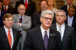 Mississippi Governor Phil Bryant speaks during a press conference before this week's special session of the Legislature at the Capitol in Jackson Thursday, August 23, 2018. Lawmakers reached agreements on infrastructure funding and a state lottery during the session.