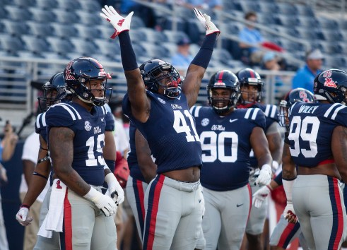Ole Miss players show excitement before their game Alabama in Oxford Saturday, September 15, 2018.