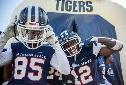 The Jackson State Tigers show excitement before playing against Mississippi Valley State University during their homecoming game Saturday, October 13, 2018.