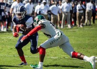 Jackson State's Jordan Johnson tries to get past Mississippi Valley State University's Morgan Ford during JSU's homecoming game Saturday, October 13, 2018.