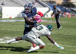 Jackson State's Keene Young breaks Mississippi Valley State University's Darion Staten's tackle during JSU's homecoming game Saturday, October 13, 2018.