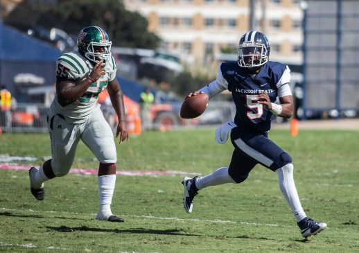 Jackson State's quarterback Jarrad Hayes looks for a pass during their homecoming game against Mississippi Valley State University Saturday, October 13, 2018.