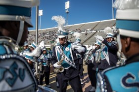 Members of the Sonic Boom of the South prepare to perform at half-time at Mississippi Veterans Memorial Stadium during JSU's homecoming game against Mississippi Valley State University Saturday, October 13, 2018.