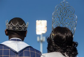 Mister JSU Darrian B. Jackson and Miss JSU Gabrielle A. Baker prepare for halftime during JSU's homecoming game against Mississippi Valley State University Saturday, October 13, 2018.