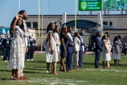 Jackson State's homecoming court is introduced in the halftime show during JSU's homecoming game against Mississippi Valley State University Saturday, October 13, 2018.