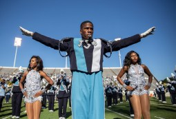 Members of the Sonic Boom of the South and J-Settes perform at halftime during JSU's homecoming game against Mississippi Valley State University Saturday, October 13, 2018.