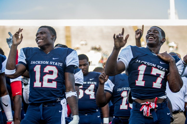 JSU players celebrate their victory over Mississippi Valley State during their homecoming game Saturday, October 13, 2018.