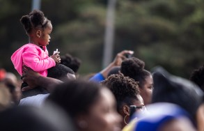 Fans watch Jackson State's homecoming parade near JSU's campus Saturday, October 13, 2018.