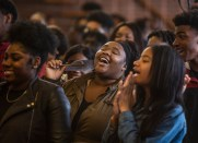 Audience members sing during a Poor People's Campaign event at Greater Mt. Calvary Baptist Church Wednesday, October 24 in Jackson.