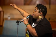 Rev. Erica Williams speaks to the audience during a Poor People's Campaign event at Greater Mt. Calvary Baptist Church Wednesday, October 24 in Jackson.