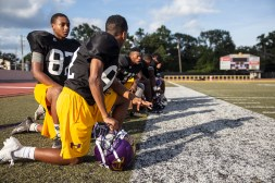 Hattiesburg High School players sit on the sideline during practice Wednesday, October 11, 2018.