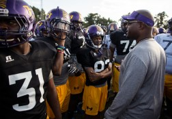 Hattiesburg High football coach Tony Vance talks to his players before practice Wednesday, October 11, 2018.